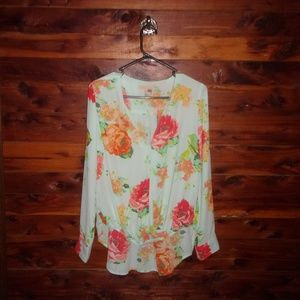 Gibson Latimer Floral High-Low Long Sleeve Top